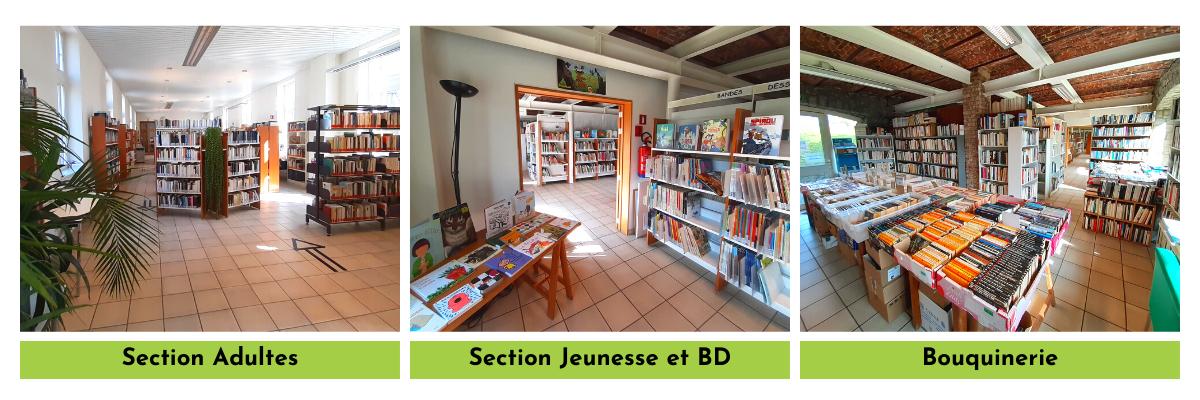 Photos de la bibliothèque François De Troyer : la section Adultes, la section Jeunesse et BD et la bouquinerie