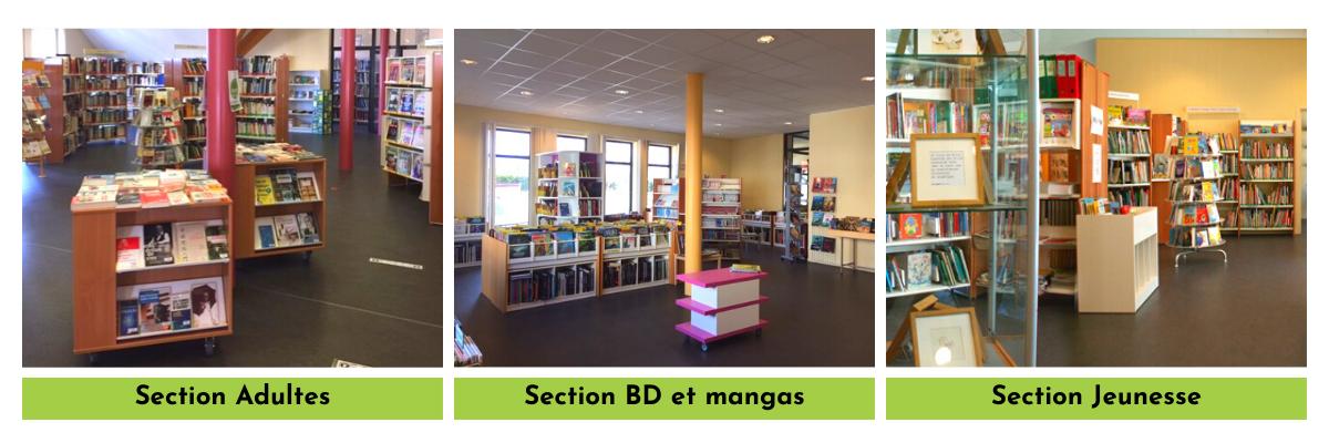Photos de la bibliothèque communale : la section Adultes, la section BD et mangas et la section Jeunesse