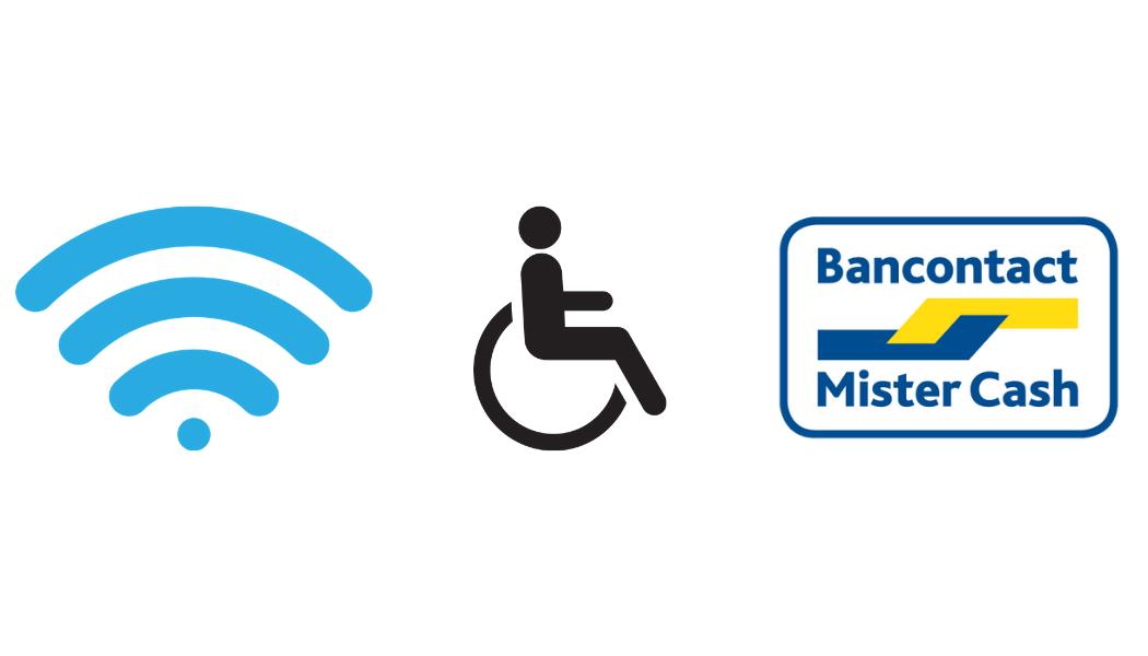 Wi-fi, accessible aux personnes à mobilité réduite et payements par bancontact